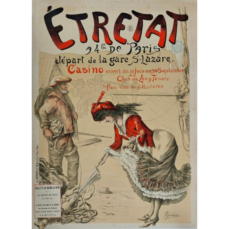 Affiche ancienne originale Etretat Casino Club de lawn tennis GANGAND