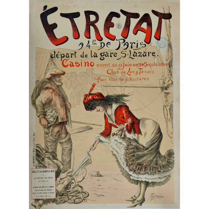 Original vintage poster Etretat Casino Club de lawn tennis - GANGAND