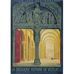 Affiche ancienne originale PLM Basilique Romaine Vézelay ALO
