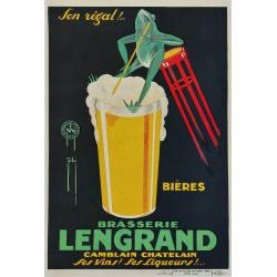 Affiche ancienne originale Bières Brasserie LENGRAND Camblain Chatelain Ses vins Ses liqueurs