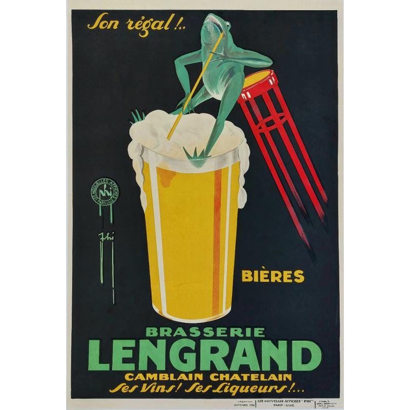 Original vintage poster Bières Brasserie LENGRAND Camblain Chatelain Ses vins Ses liqueurs