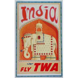 Affiche ancienne originale TWA Fly TWA India 1960s David Klein