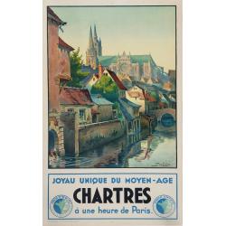 Affiche ancienne originale Chartres joyau unique du Moyen-Age DUVEROIE