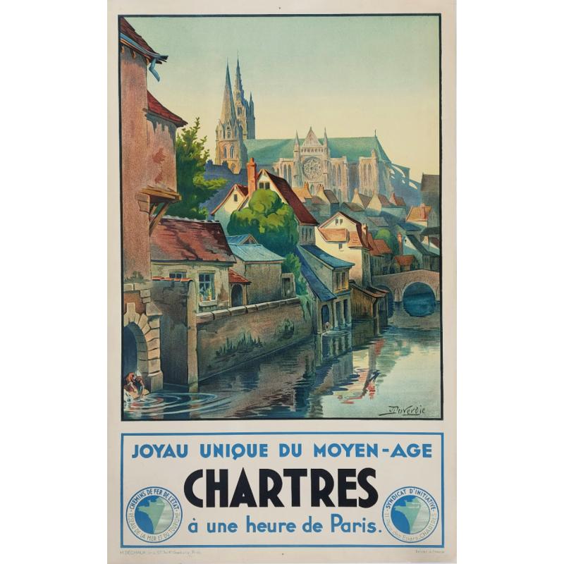 Original vintage poster Chartres joyau unique du Moyen-Age DUVEROIE