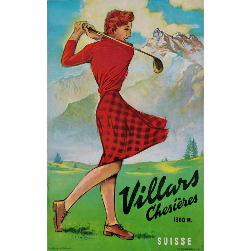 Affiche ancienne originale golf Villars Chesières Suisse HENCHOZ