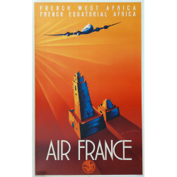 Affiche ancienne originale Air France French Equatorial Africa MAURUS