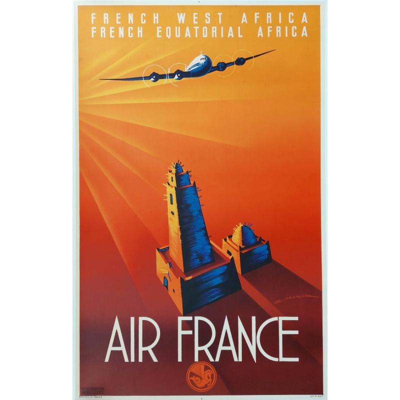 Original vintage poster Air France French Equatorial Africa MAURUS