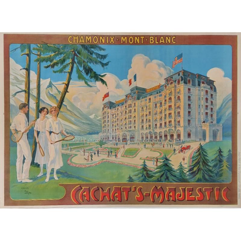 Affiche ancienne originale tennis CHAMONIX Mont-Blanc Majestic FARIA