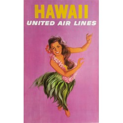 Affiche ancienne originale United Airlines Hawaii Hula girl dance