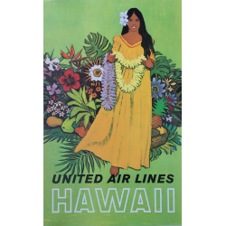 Affiche ancienne originale United Airlines Hawaii Stan GALLI