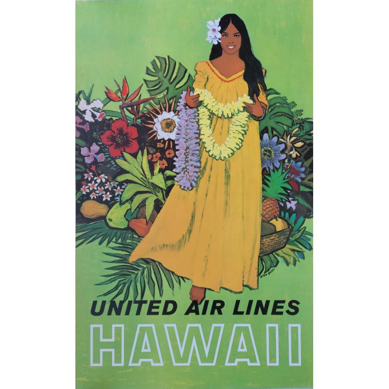 Original vintage poster United Airlines Hawaii Stan GALLI
