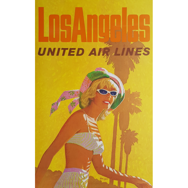 Affiche ancienne originale United Airlines Los Angeles Stan GALLI