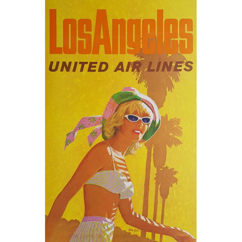 Original vintage poster United Airlines Los Angeles Stan GALLI