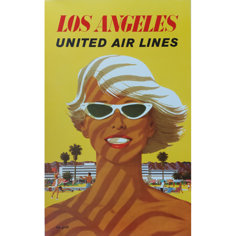 Affiche ancienne originale Los Angeles United Airlines Stan GALLI