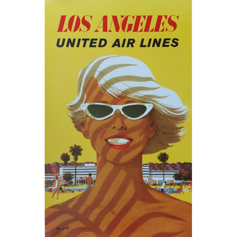 Original vintage poster Los Angeles United Airlines Stan GALLI