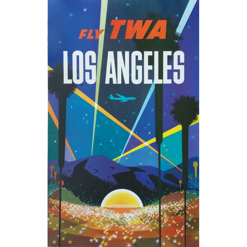 Affiche ancienne originale Los Angeles Fly TWA David Klein
