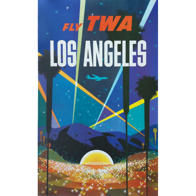 Original vintage travel poster Los Angeles Fly TWA David Klein