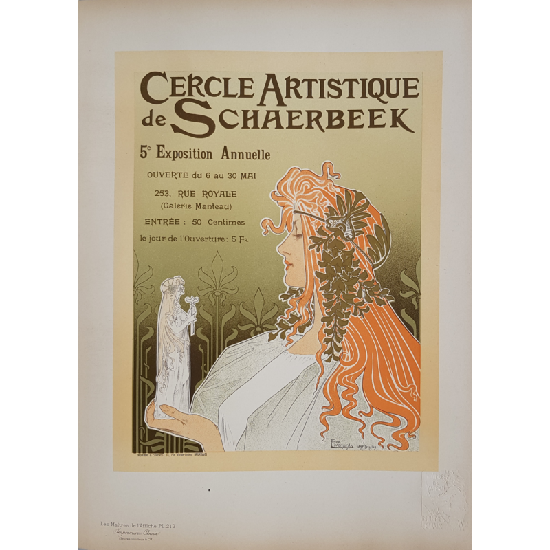 Maîtres de l'Affiche Original PLate 212 Cercle artistique Schaerbeek PRIVAT-LIVEMONT