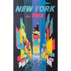 Affiche ancienne originale TWA New York 1960s David Klein