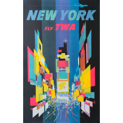 Original vintage travel poster TWA New York 1960s David Klein