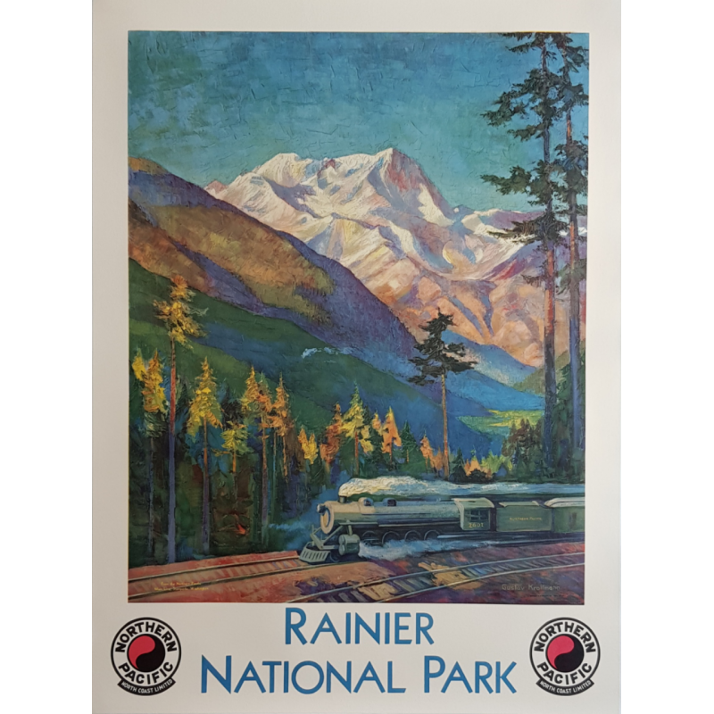 Affiche ancienne originale Rainier National Park Northern Pacific KROLLMANN