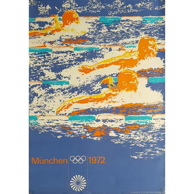 Affiche ancienne originale Jeux olympiques natation Munich 1972
