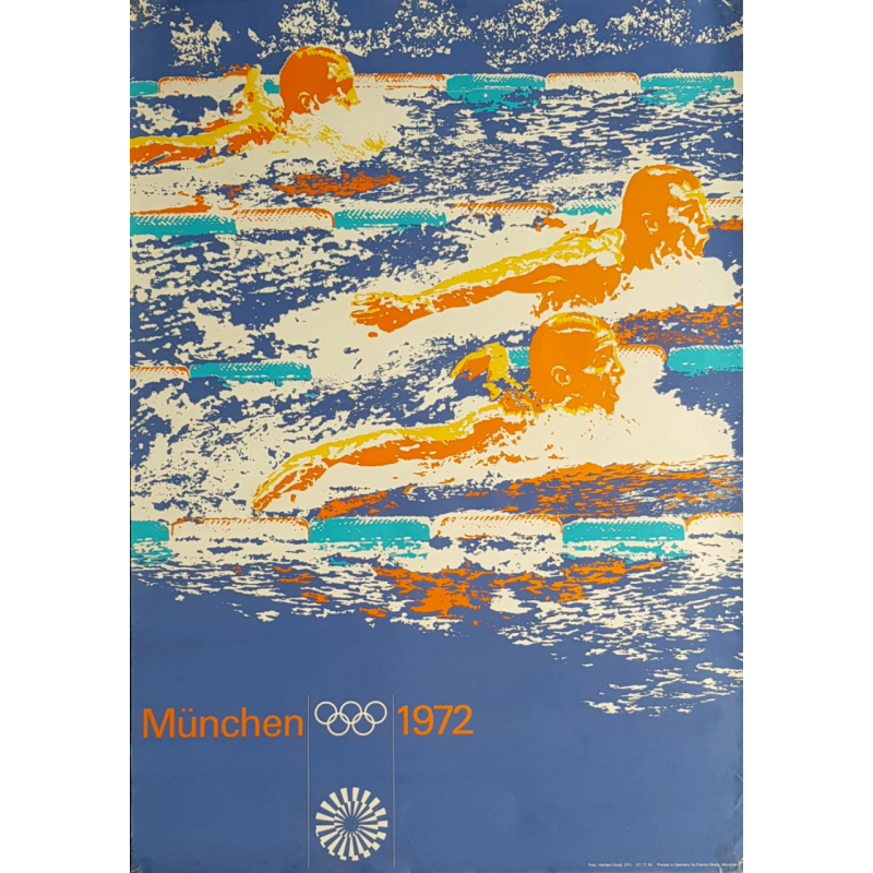Original vintage poster Olympic games swimming Munich 1972