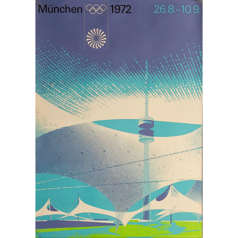 Affiche ancienne originale Jeux olympiques stade Munich 1972