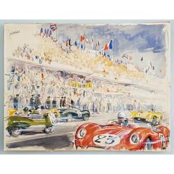 Original vintage watercolor 24 hours Le Mans start circa 1950 JACANO