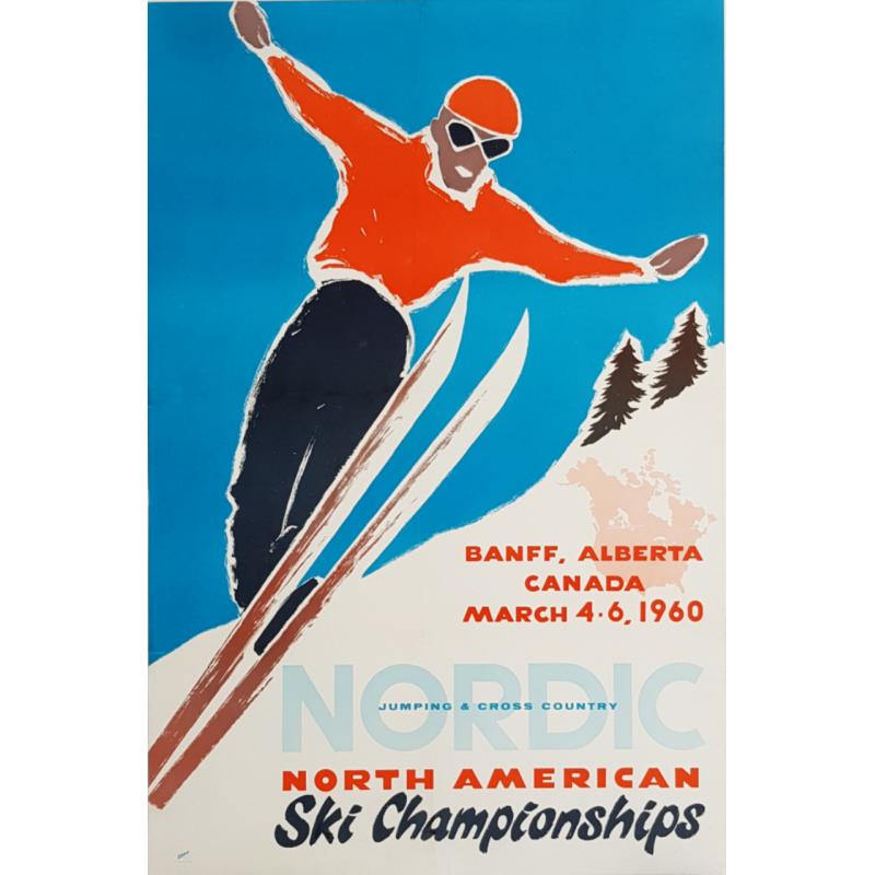Affiche ancienne originale North American Ski Championships Alberta Canada