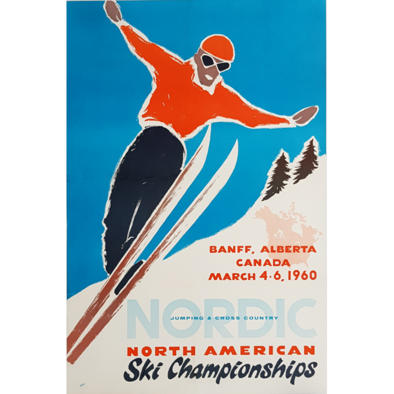 Original vintage poster North American Ski Championships Alberta Canada