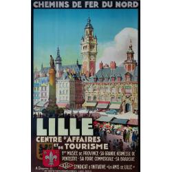 Affiche ancienne originale Chemin de fer du Nord LILLE DEQUENE
