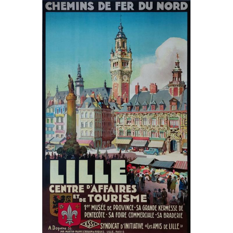 Original vintage poster Chemin de fer du nord LILLE DEQUENE