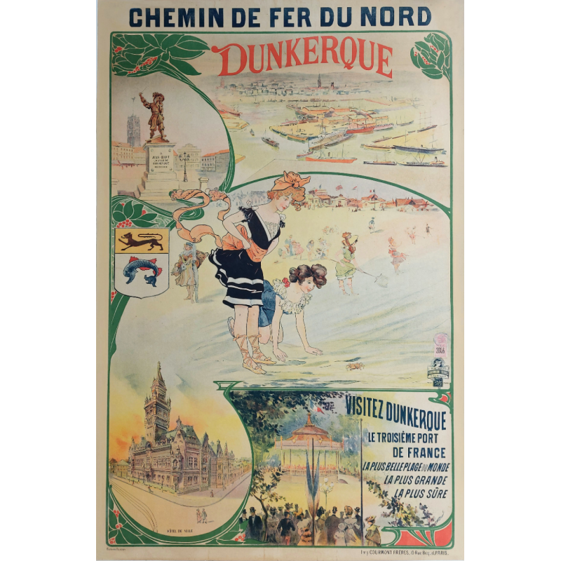 Original vintage poster Dunkerque Chemin de fer du Nord Jean Bart