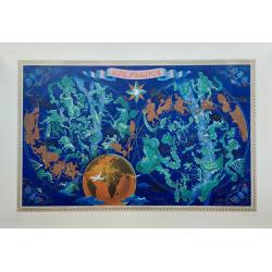 Affiche ancienne originale Air France Planisphère mapemonde Zodiac 1956 Lucien BOUCHER