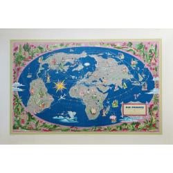 Affiche ancienne originale Air France le plus grand réseau du monde Planisphère Lucien BOUCHER