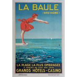 Affiche ancienne originale La Baule Bretagne 1924