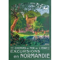Affiche ancienne originale Excursions en Normandie Yport Henry De Renaucourt