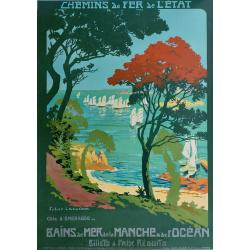 Affiche ancienne originale côte d'émeraude Chemin de fer de l'état Julien LACAZE