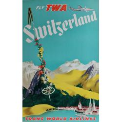 Affiche ancienne originale Fly TWA Switzerland Trans World Airlines