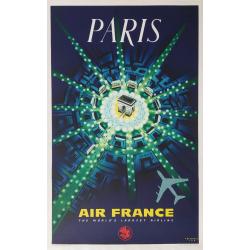 Affiche ancienne originale Air France PARIS Pierre BAUDOUIN