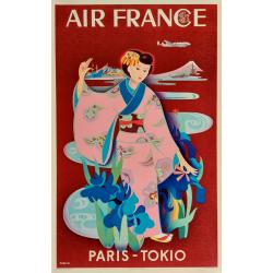 Original vintage poster Air France PARIS TOKIO TABUCHI