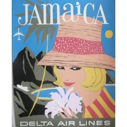 Original vintage poster Delta Air Lines Jamaique Jamaica