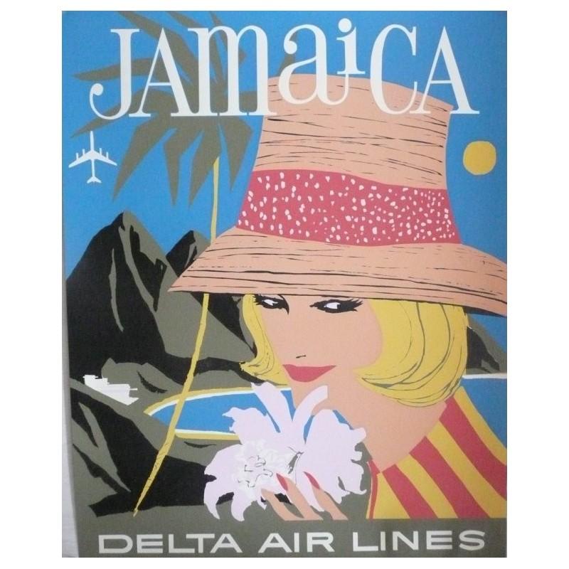 Affiche originale Delta Air Lines Jamaique Jamaica