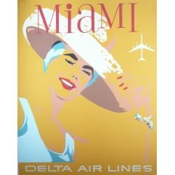 Original vintage poster Delta Air Lines Miami USA