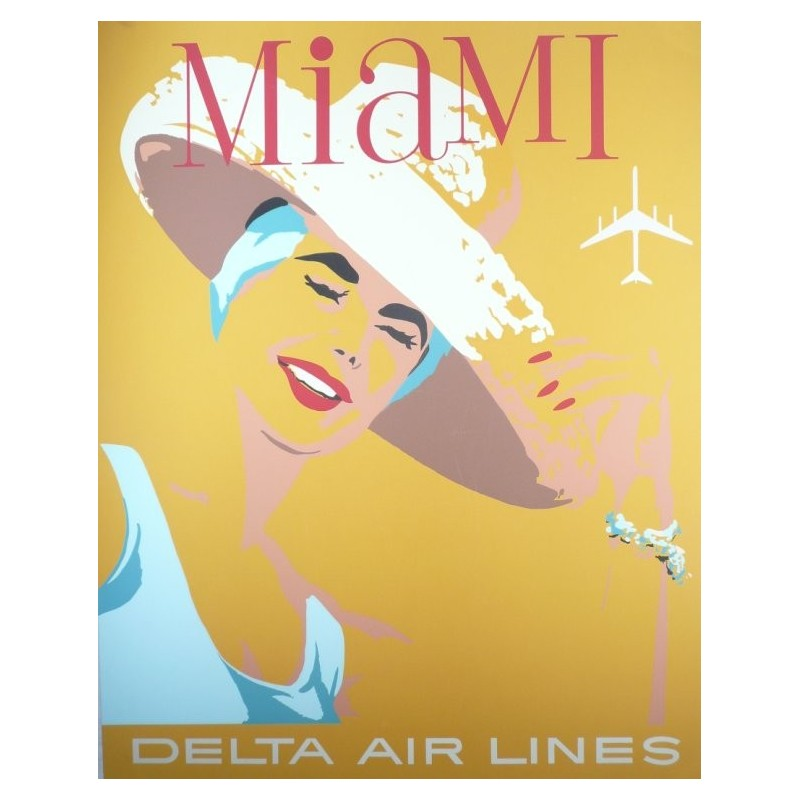 Original vintage poster Delta Air Lines Miami USA