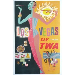 Original vintage poster TWA Las Vegas petit format 64 x 39,5 cms - David Klein