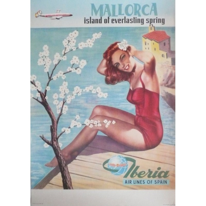 Affiche originale compagnie aérienne Iberia Air lines of Spain Majorque Mallorca