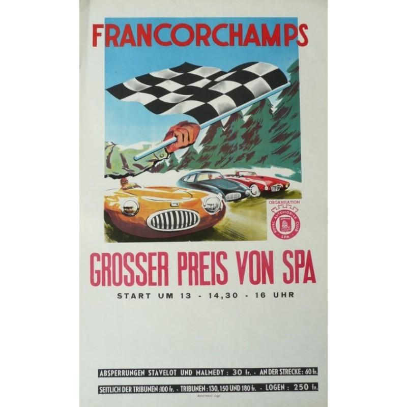 Original vintage poster Grand prix de Spa Francorchamps 1952