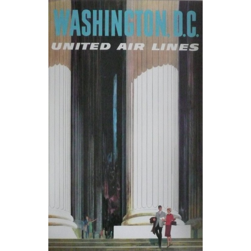 Affiche originale United Airlines Washington DC